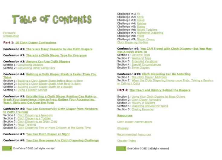 Cloth Diaper Convert Table of Contents