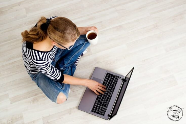 Blogger with Coffee and Computer