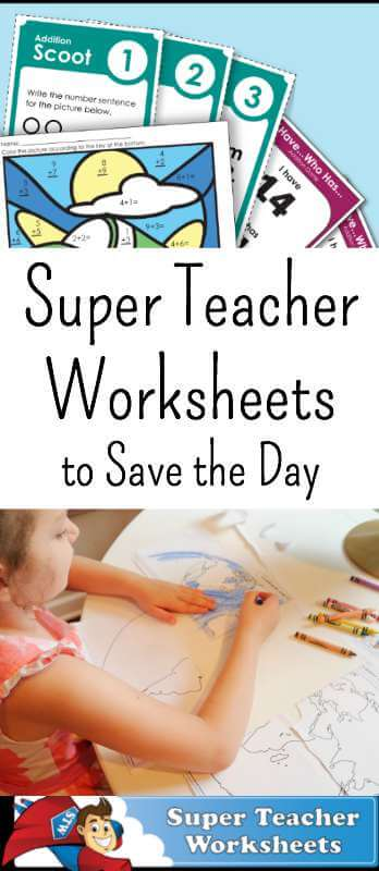 Stressed? Overwhelmed with homeschooling? Super Teacher Worksheets is there to save the day. #superteacher #homeschool #homeshoolworksheets #homeschoolworksheetactivities
