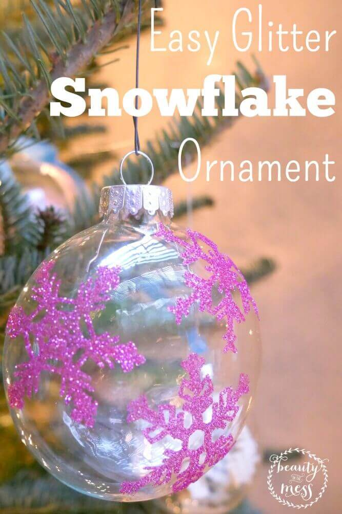 The Silhouette Cameo makes homemade ornaments a breeze. Don't miss these directions on how to make your own glitter snowflake ornament.