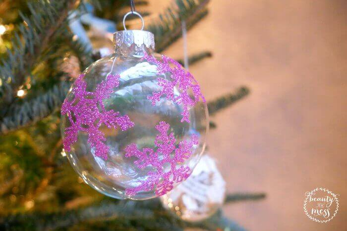 Raspberry Glitter Snowflake Ornament with silhouette CAMEO