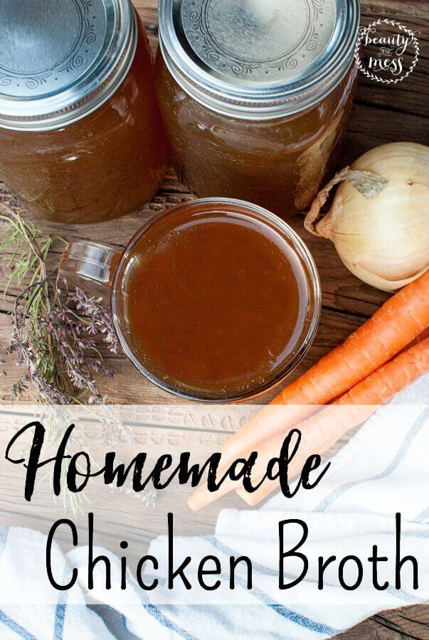 Easy delicious and nourishing homemade bone broth with chicken that you can store in your freezer. #bonebroth #homemadebroth #chickenbroth