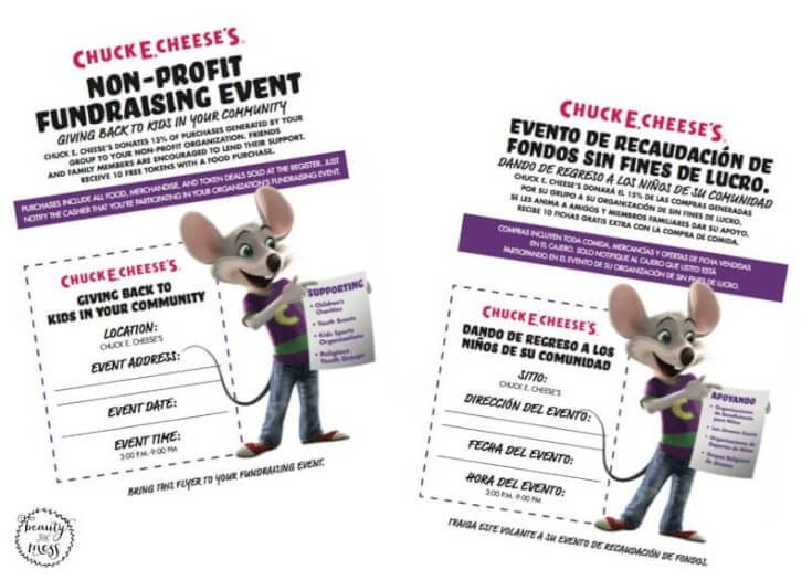 Chuck E. Cheese's Non-Profit Fundraising Event Flyers in English and Spanish