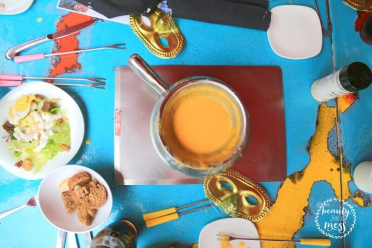 Cheese Fondue and Salad