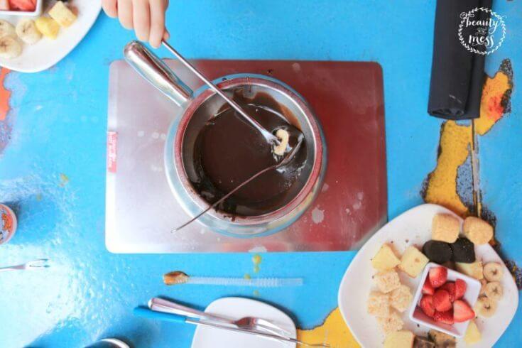 Chocolate fondue yummy goodness