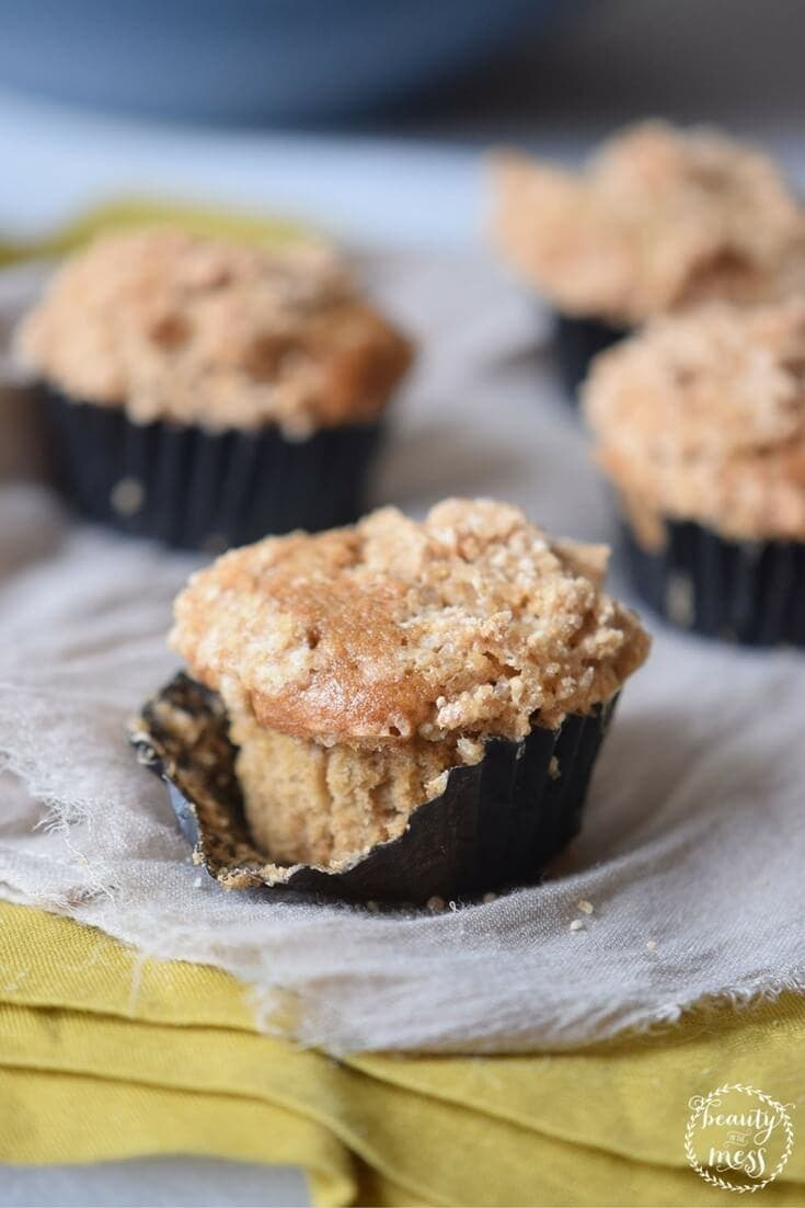 Bake these delicious gluten free and dairy free Peach Streusel Muffins, serve them warm or take them with you when you have to eat a good breakfast on the go.