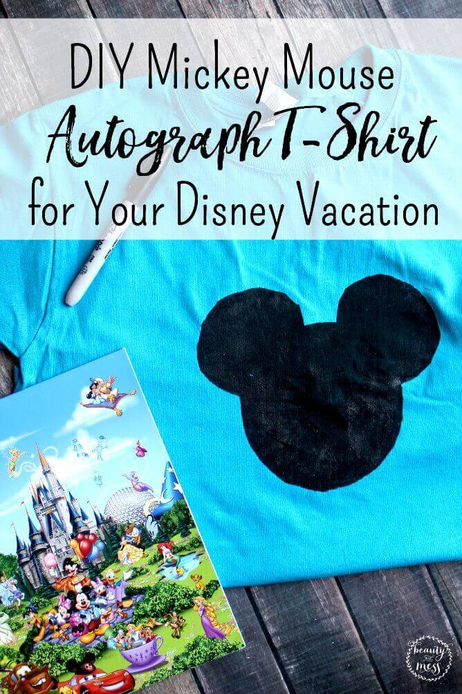 Want an autograph book alternative? Try this DIY Mickey Mouse Autograph T-Shirt for Your Next Disney Vacation.  via @simplifyingfamily