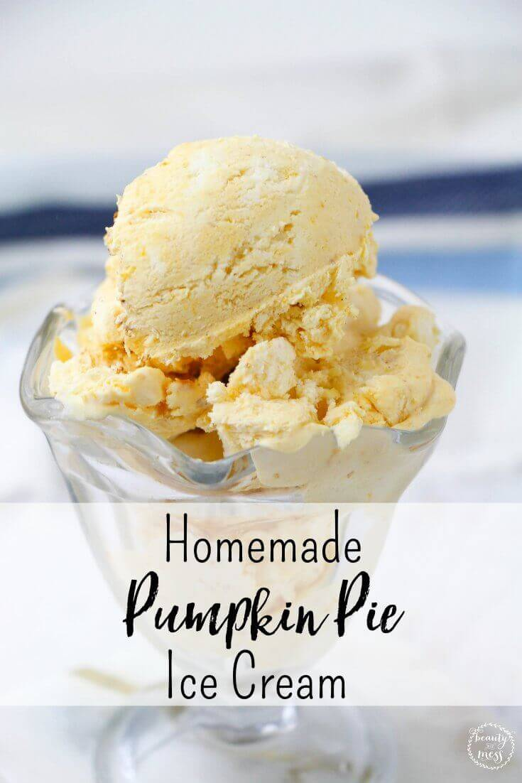 The best homemade pumpkin pie ice cream recipe. It is creamy with the right amount of pumpkin and spice. Perfect for the pumpkin spice lover via @simplifyingfamily