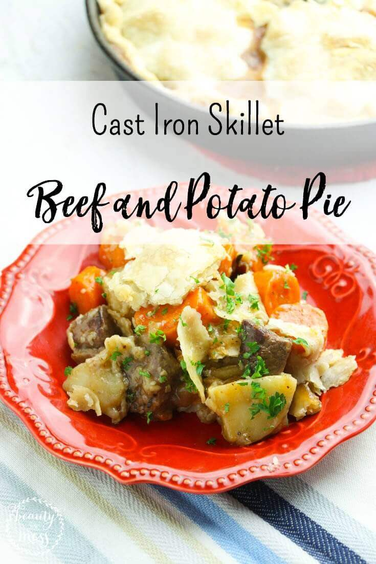 The ultimate comfort food. Cast Iron Skillet Beef and Potato Pie will not disappoint. It's perfect for cold nights and a taste of home. via @simplifyingfamily