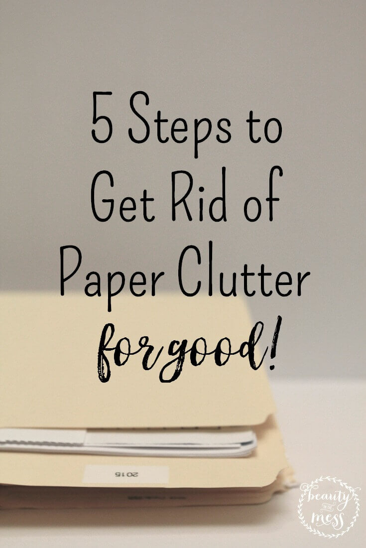 Do you have paper piles EVERYWHERE? Are you trying to declutter but don't know where to start? Keep reading for tips to help get rid of paper clutter. For good. #Officeorganizationatwork #Declutterandorganize #declutter #declutterpaper #paperclutter #Minimalisthome #Organizingpaperworkathome #Organizingoffice #Simpleliving #getorganized via @simplifyingfamily