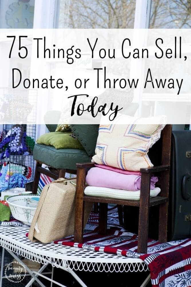 Do you struggle with clutter in your home? When was the last time you made piles of things to sell, donate, or throw away? Need to declutter? Throw open the windows. It is time to simplify your home. Don't miss these 75 things to sell, donate, or throw away so you can breathe again. #simplifyyourhome #declutterchecklist #declutteryourhome via @simplifyingfamily