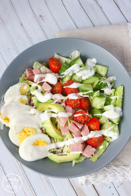 This cobb salad with homemade dressing has just the right combination of ingredients. They meld together so well and taste delicious. Pairs perfectly with soup.