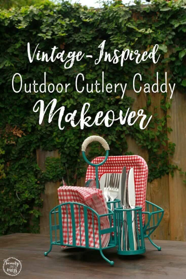 A quick cutlery caddy makeover can provide a pop of color for a fun vintage look, and you'll have an organized outdoor entertaining space for the summer! via @simplifyingfamily