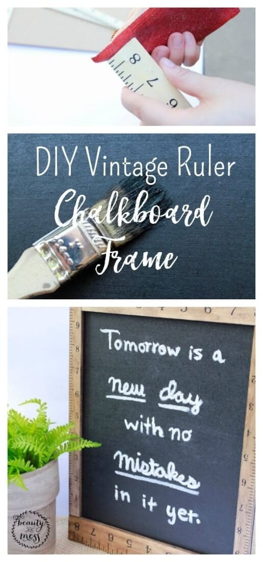 This DIY Vintage Farmhouse Style Ruler Chalkboard Frame is a back-to-school project that can double as year-round home decor. via @simplifyingfamily