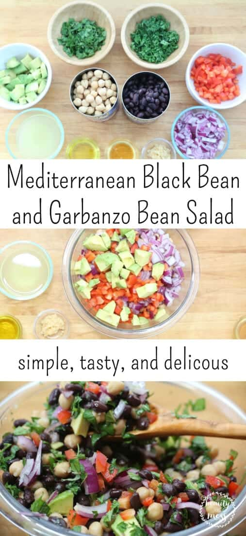 Need a meatless meal to help you get out of a food rut? Try this Mediterranean Black Bean and Garbanzo Bean Salad that is simple, fresh, and delicious. #mybestwithbushbeans via @simplifyingfamily