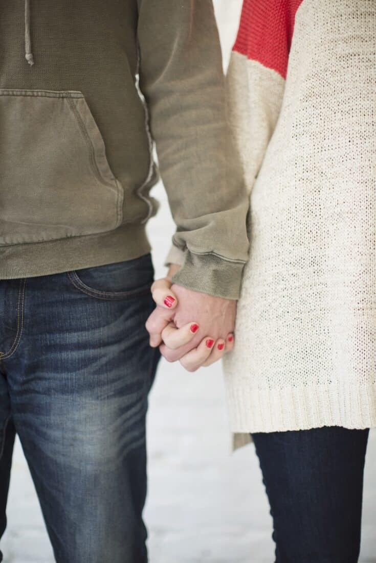 hold hands while on date night