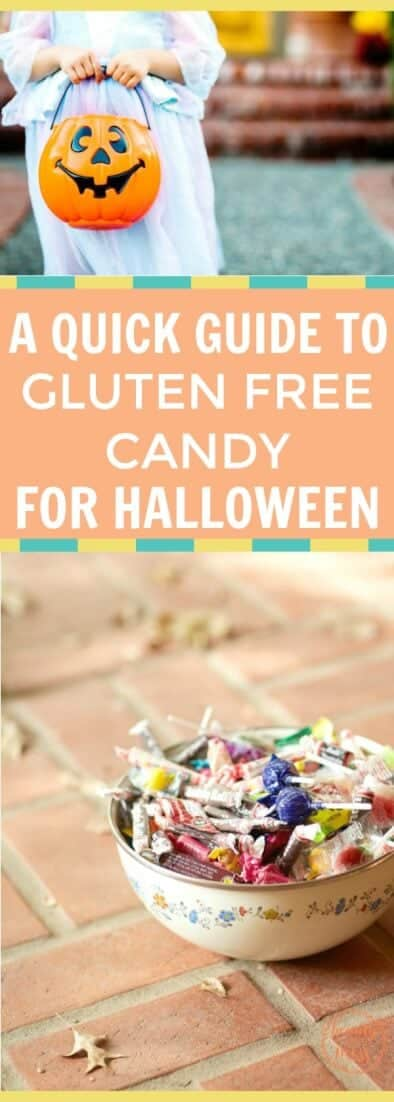 Buying gluten free foods can be overwhelming. Making sure your candy is gluten free can push you over the top. Use this guide to make shopping easier to find gluten free candy for trick or treaters, family, friends, or yourself for Halloween #halloween #halloweencandy #glutenfree