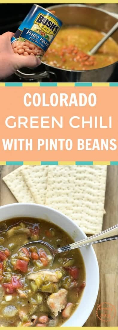 This spin on Colorado pork green chili by adding pinto beans is perfect for chilly nights when you need to warm up. It's great over rice or by itself. #greenchilirecipes #coloradogreenchilirecipes #coloradogreenchilipork #hatchchilirecipe #hatchgreenchilirecipes
