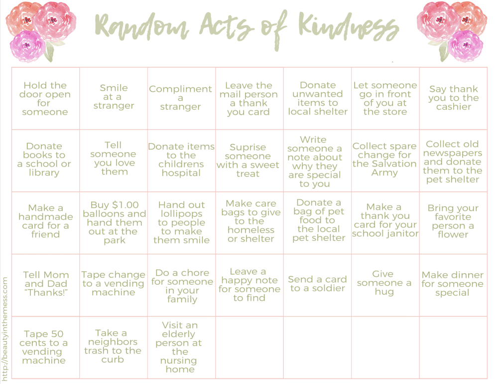 Random Acts of Kindness Calendar BITM