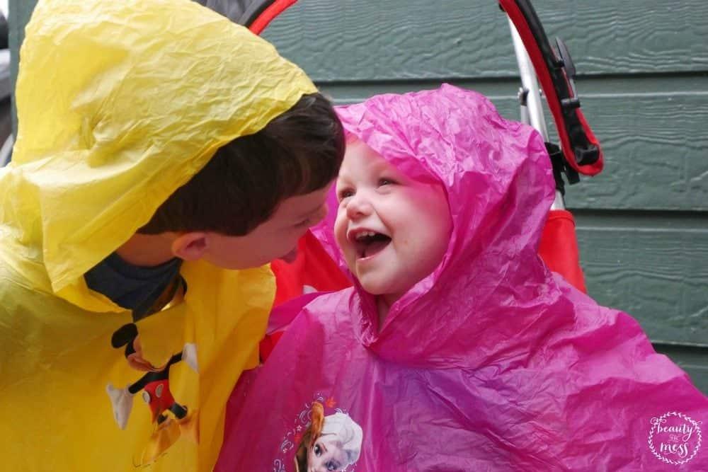 Hollywood Studios Rain Ponchos Sister and Brother Preschoolers Walt Disney World