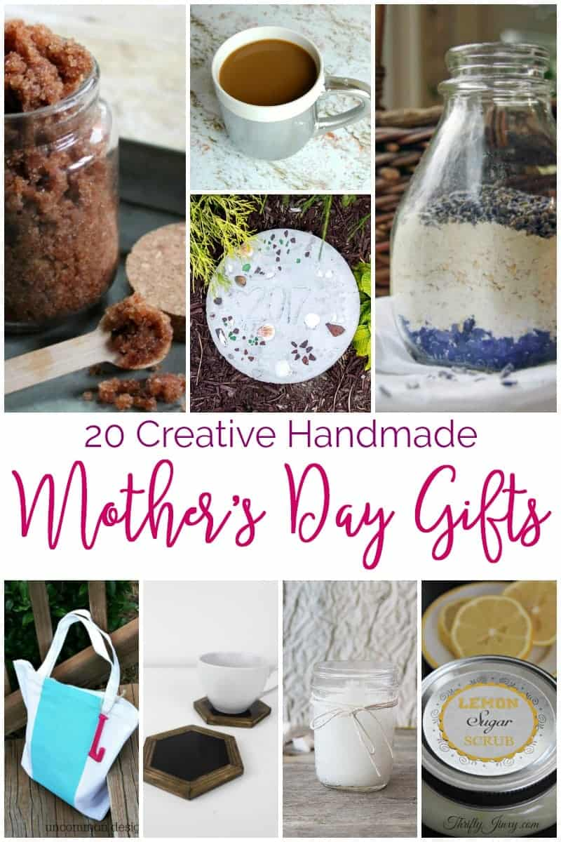 If you are looking for Mother's Day gift ideas, don't miss these 20 Creative #Handmade Mother's Day #GiftIdeas . From #bathsalts to #crocheted #markettotes , there is something for everyone. #DIY #photocoasters #mercuryglass #oatmealmilkbath #lavender #lemonsugarscrub #soap