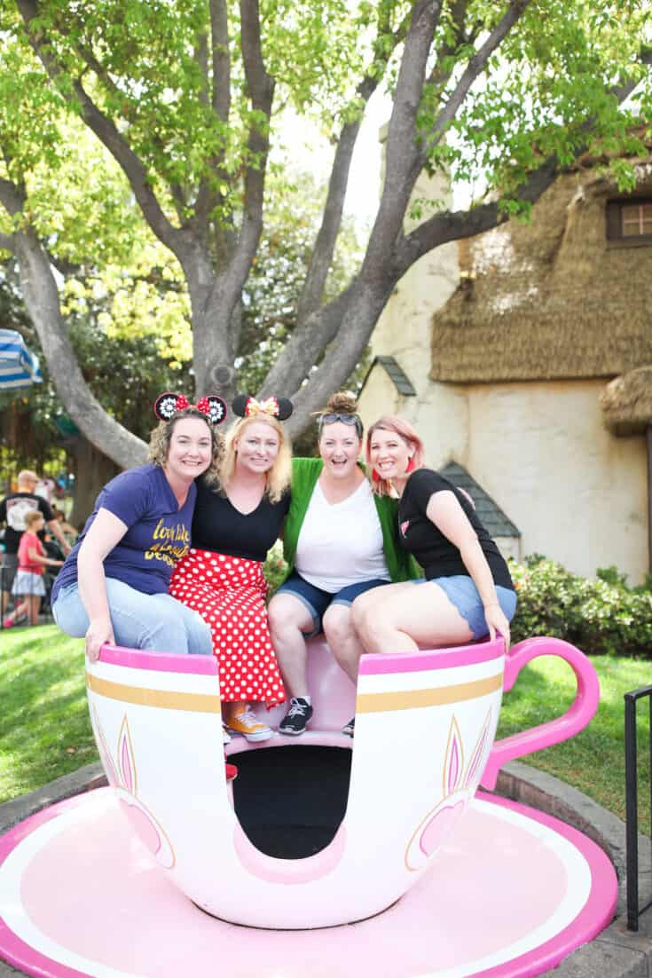 Alice Teacup at Disneyland with friends