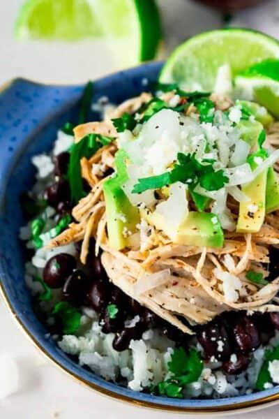 Mojo Chicken in the Instant Pot Burrito Bowl