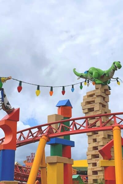 Jesse and Rex at Toy Story Land Slinky Dog Dash