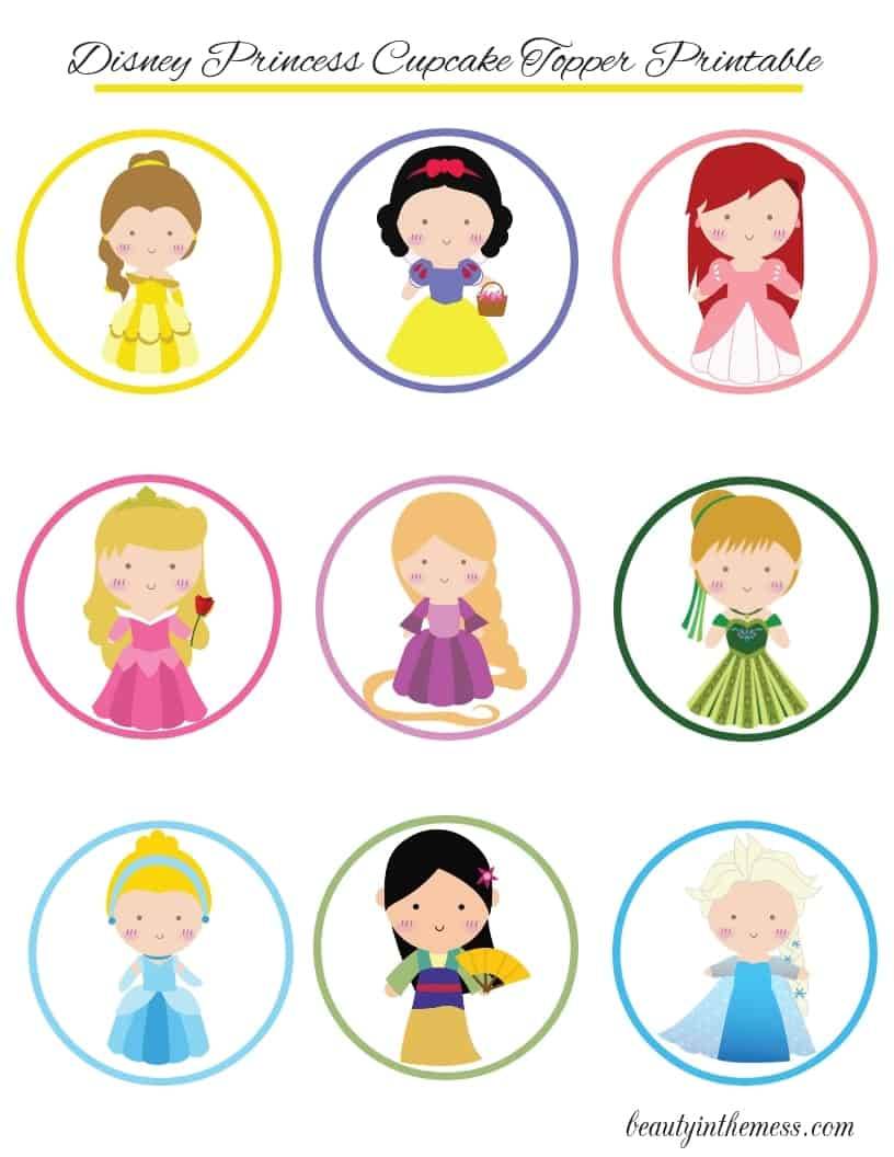 photograph relating to Princess Printable identified as Disney Princess Cupcake Toppers with Printable and Do-it-yourself Manual