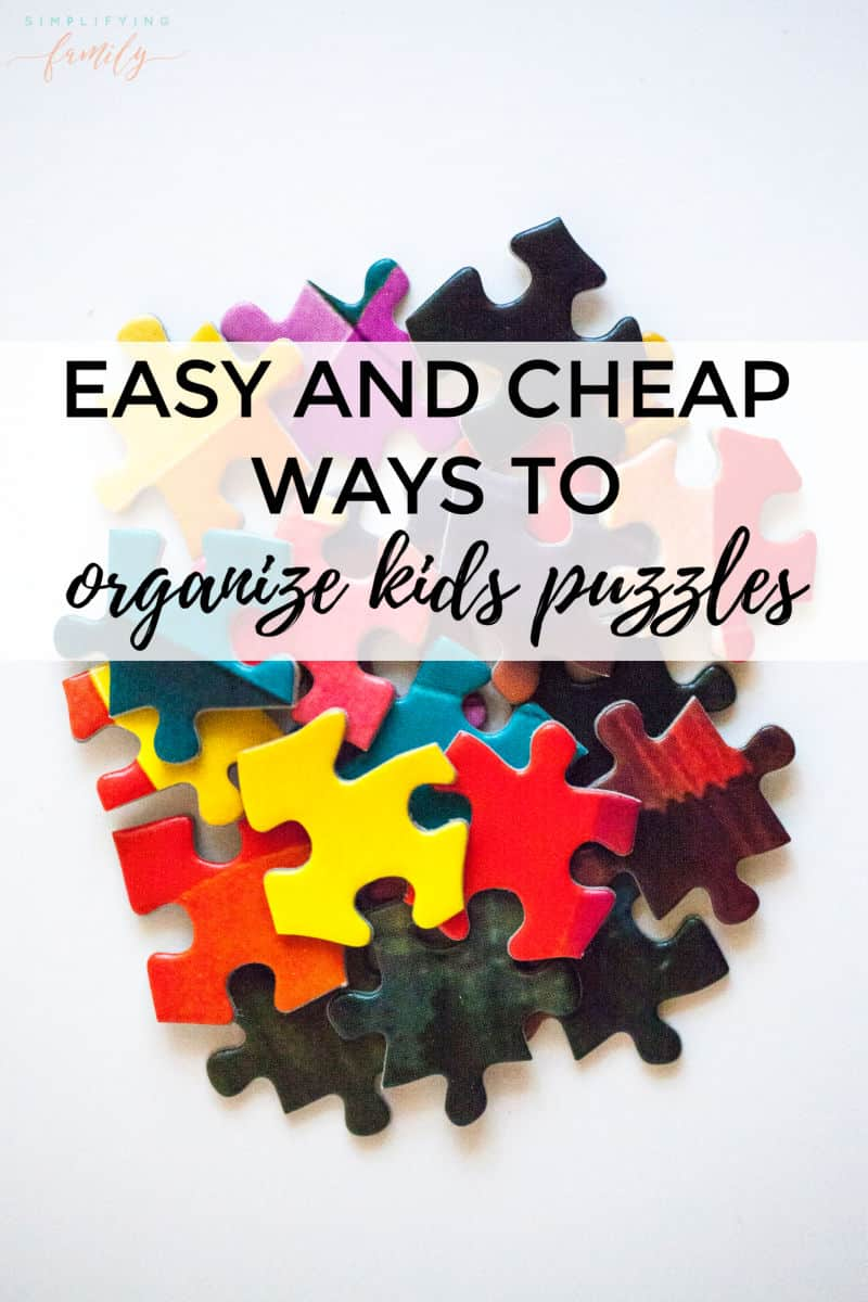 Puzzles are a great family activity but can lead to big messes. Take the frustration out of puzzle storage with these easy ways to organize puzzles at home! #puzzlestorage #puzzleorganization #toyorganization via @simplifyingfamily