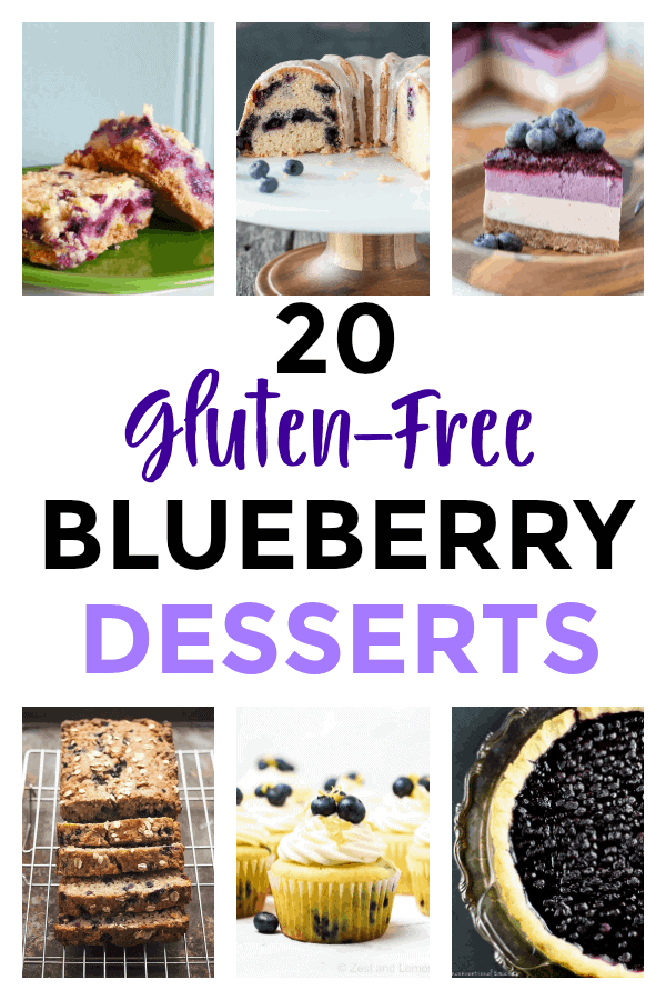 Whether you're making muffins, cheesecakes, or breakfast bars, these 20 gluten-free blueberry desserts will inspire you to try something new this season with your bucket of blueberries! #blueberrydesserts #glutenfreedesserts #gfblueberrydesserts via @simplifyingfamily