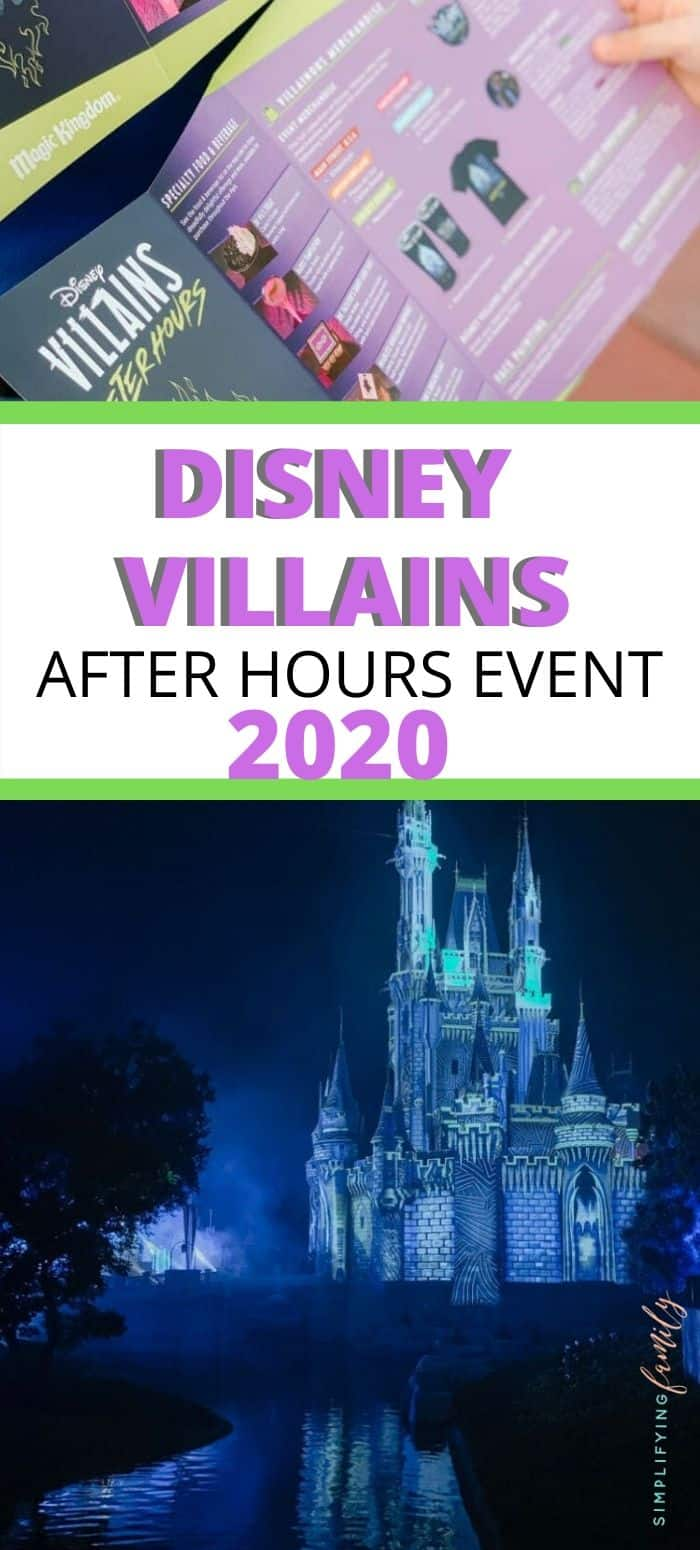Spend time with friends and family while hanging out at a special nighttime event showcasing some of Disney's best-loved baddies! At Disney Villains After Hours, there are new experiences, exclusive snacks, some food that's included, exclusive merchandise for the event, and a less crowded Magic Kingdom. #villainsafterhours #nowmorethanever #waltdisneyworld via @simplifyingfamily