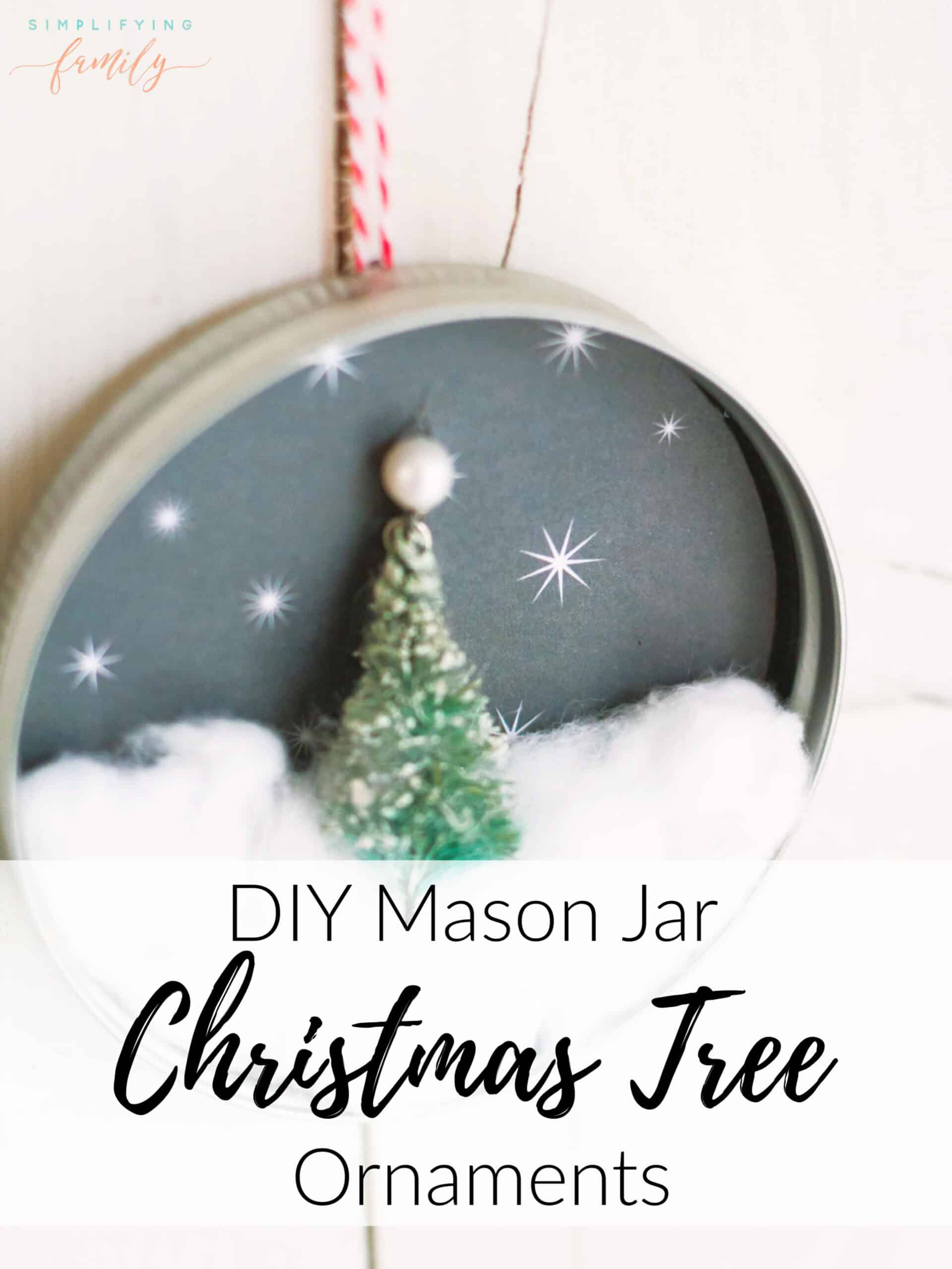Whether you are looking for easy ornaments you can make with your children, sell at Christmas Markets, or make homemade gifts to friends and family, this Mason Jar Christmas tree ornament is perfect. #DIY #christmasornament #masonjarlid #jarlidornament #masonjarcrafts via @simplifyingfamily