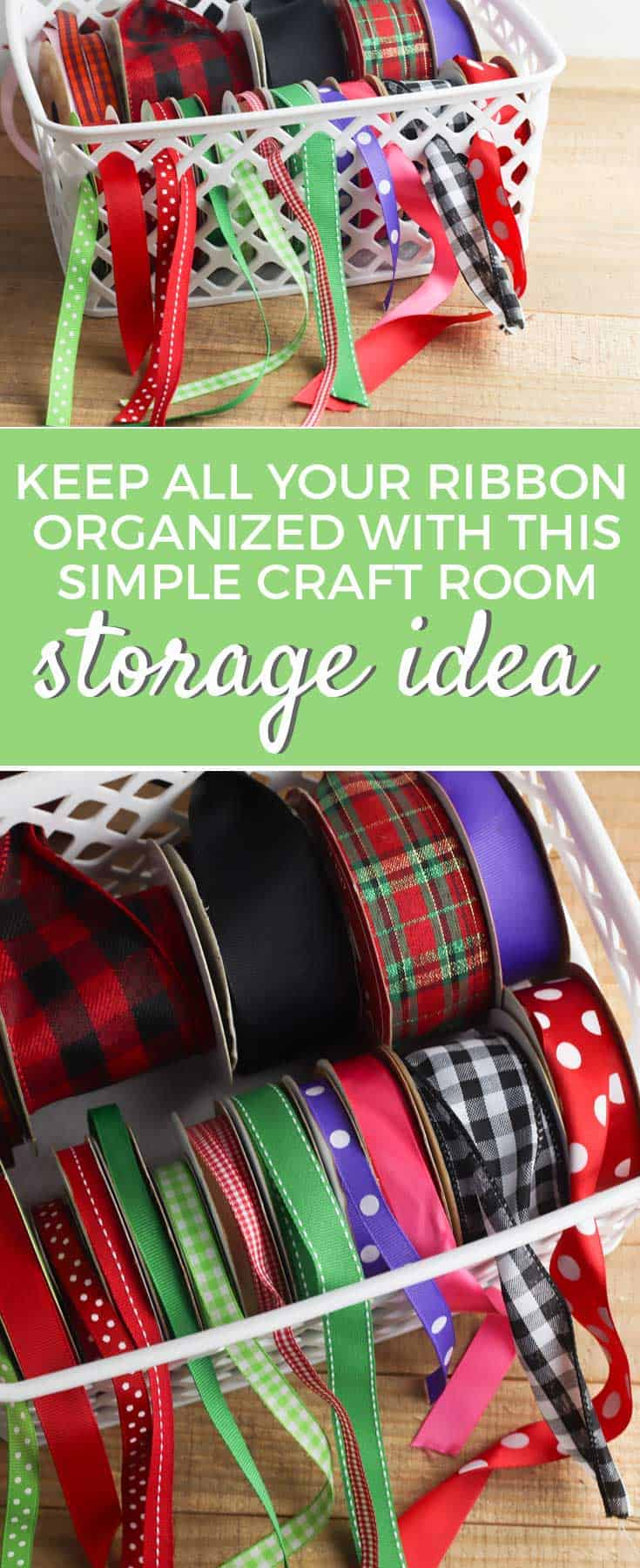 While it's easy to toss ribbon spools in a box, it's hard to use when your ribbon is hidden away. Here is a simple hack to organize your ribbon! #craftorganization #ribbonorganization #organizationhack via @simplifyingfamily