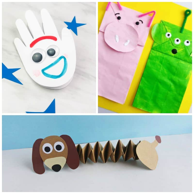 Disney Movie Craft ideas Forkey handprint card, Toy Story paper bag crafts, Slinky dog craft