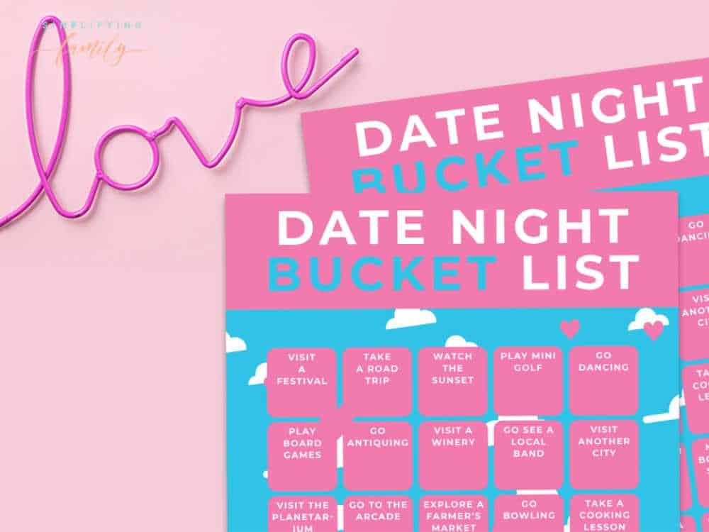 date night bucket list ideas bingo printable