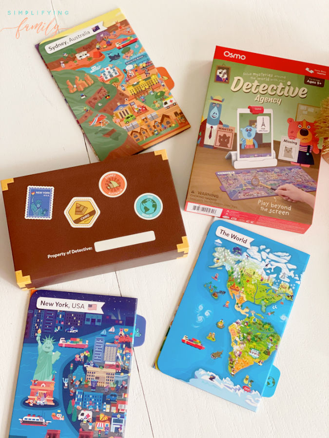learning geography with Osmo Detective Agency